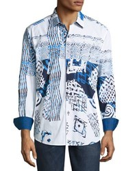 Robert Graham Mesozoic Woven Button Front Shirt Blue