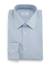 Brioni Micro Check Grenadine Dress Shirt Aqua Blue Size 17