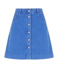 Stella Mccartney Button Down Denim Skirt Blue
