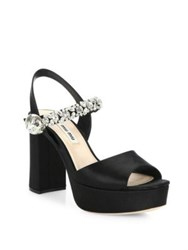 Miu Miu Jewel Strap Satin Platform Slingbacks Black