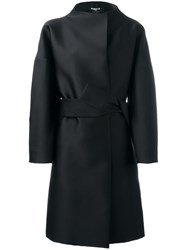 Paule Ka Funnel Neck Belted Coat Black