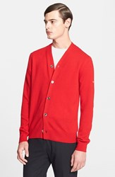 Men's Comme Des Garcons Wool Cardigan Red