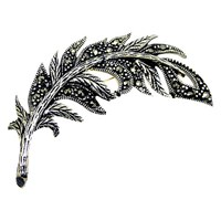 Goldmajor Sterling Silver And Marcasite Feather Brooch Silver Black