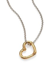 John Hardy Bamboo 18K Yellow Gold And Sterling Silver Heart Pendant Necklace Silver Gold