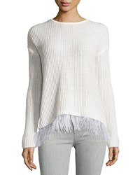 Design History Feather Fringe Knit Pullover Sweater Pearl White