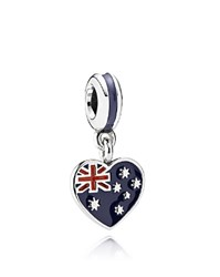 Pandora Design Pandora Dangle Charm Sterling Silver And Enamel Australian Heart Flag Moments Collection Blue Red Silver