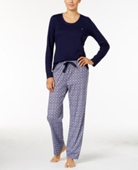 Nautica Scoop Neck Knit Top And Printed Pajama Pants Gift Set Navy Floral