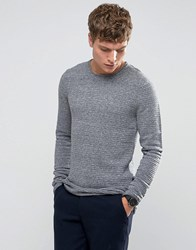 Selected Homme Crew Neck Ribbed Knit Blue Nights Melange Grey