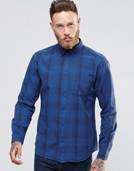 Wrangler Buttondown Shirt In Blue Overdyed Subtle Check Limoges