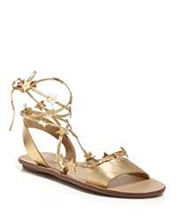 Loeffler Randall Open Toe Flat Lace Up Sandals Starla Star Pale Gold