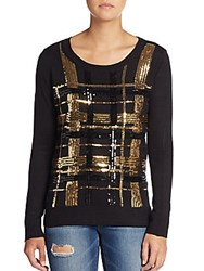 Saks Fifth Avenue Red Sequin Plaid Sweater Black