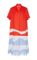 Vika Gazinskaya Color Block Waves Dress Red Blue White