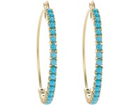 Irene Neuwirth Women's Turquoise And Gold Hoop Earrings No Color