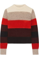 Rag And Bone Britton Striped Knitted Sweater Red