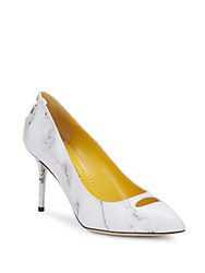 Charlotte Olympia Ada Marble Print Leather Pumps White