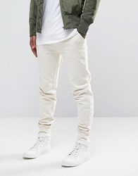 Asos Skinny Joggers In Off White Whitecap Grey Beige