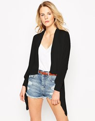 Mango Long Sleeve Waterfall Cardigan With Ribbed Edges Black