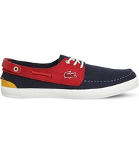 Lacoste Sumac Nubuck Boat Shoes New Navy Red
