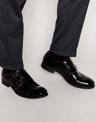 Base London Napier Leather Monk Shoes Black