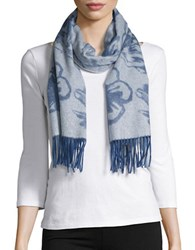 Lord And Taylor Reversible Fringed Floral Cashmere Scarf Denim Blue
