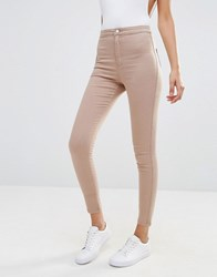 Missguided Vice High Waisted Skinny Jean Nude Beige