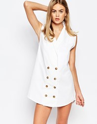 Rollas Button Front Denim Waistcoat Mini Dress White