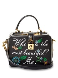 Dolce And Gabbana Soft Embellished Leather Bag Black White