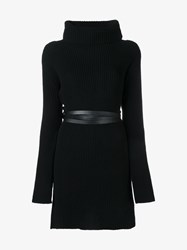 Valentino Belted Turtle Neck Knit Black Multi Neutral