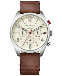 Tommy Hilfiger Men's Casual Sport Brown Leather Strap Watch 44Mm 1791208