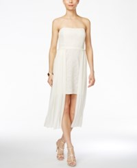 Rachel Roy Embroidered Strapless High Low Midi Dress Ivory