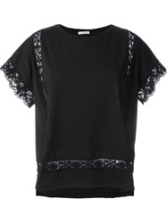P.A.R.O.S.H. Crochet Detail T Shirt Black
