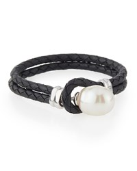 Majorica Storm Baroque Pearl And Leather Bracelet Women's