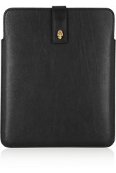 Alexander Mcqueen Skull Embellished Leather Ipad Sleeve Black