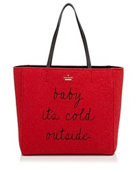 Kate Spade New York Post Drive Baby It's Cold Felt Tote Red