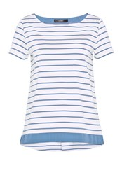 Hallhuber Striped Top With Back Pleat Ice Blue