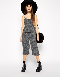 Asos Reclaimed Vintage Mono Frill Detail Cropped Strappy Jumpsuit
