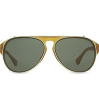 Dries Van Noten Dvn79 Clip On Aviator Sunglasses Mud And Silver
