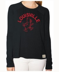 Retro Brand Women's Louisville Cardinals Glitter Arch Long Sleeve T Shirt Heather Gray