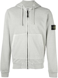 Stone Island Arm Patch Zipped Hoodie Green