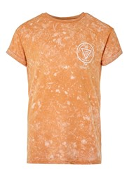 Topman Orange Acid Wash Forgotten Print Muscle Fit Roller T Shirt Yellow