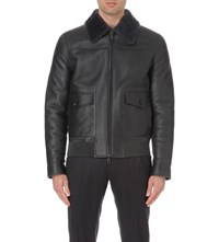 Brioni Aviator Shearling And Leather Jacket Grey