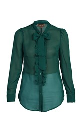 Jolie Moi Tie Neck Check Frilly Shirt Green