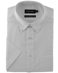 Double Two Half Sleeve Oxford Formal Shirt White