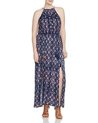 Lucky Brand Plus Geometric Print Maxi Dress Blue Multi