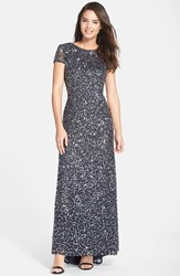 Petite Women's Adrianna Papell Short Sleeve Sequin Mesh Gown Charcoal
