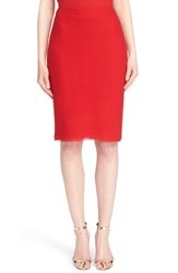 Women's St. John Collection Frayed Georgette Trim Textural Twill Knit Pencil Skirt