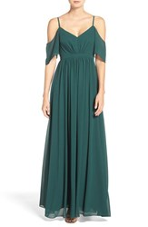 Lulus Women's Lulu's Off The Shoulder Gathered Chiffon Gown Hunter Green