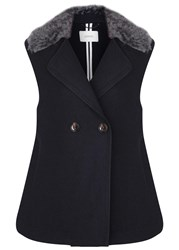 Schumacher Magnified Shearling And Wool Blend Gilet Navy