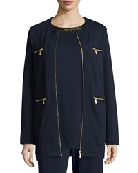 Joan Vass Four Pocket Cotton Interlock Jacket