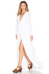 Mara Hoffman Embroidered Deep V Neck Gown White